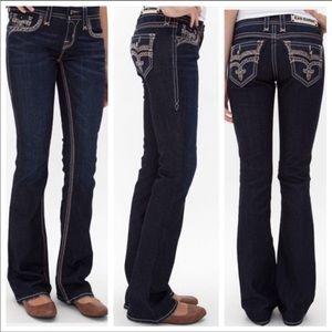 Rock Revival adorna dark wash boot jeans, size 28